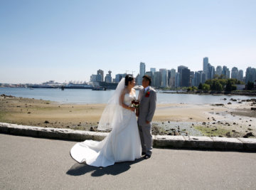 wedding couple by coal harbour
